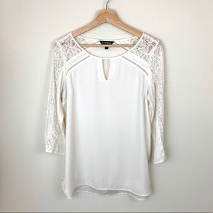 Express White Lace 3/4 Sleeve Blouse